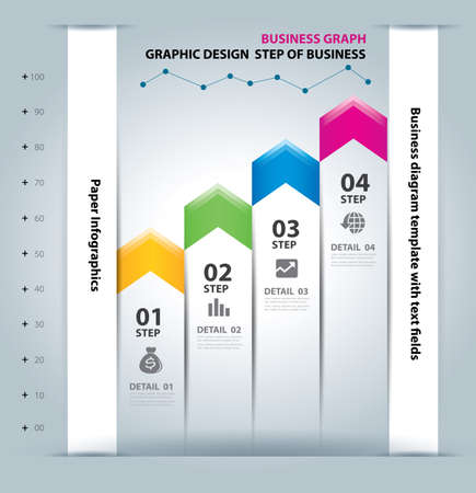 business step paper chart and numbers design template