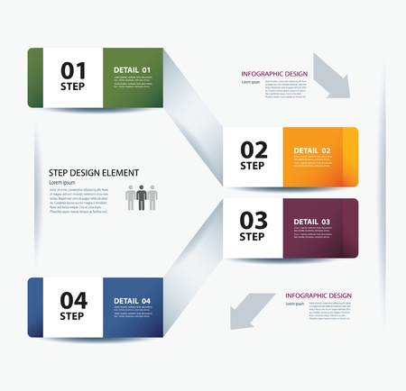 info button: business step paper data and numbers design template Illustration