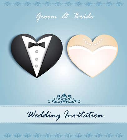 invitaci�n matrimonio: tarjeta de boda en forma de coraz�n con el smoking y el vestido