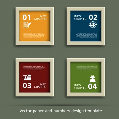 palette: paper and numbers icon design template