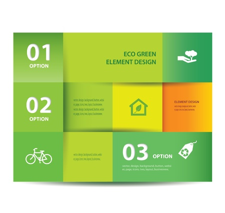 green eco: paper Eco element and numbers design template illustration  Infographics Options   Illustration