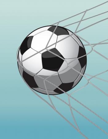 football net: soccer ball in the goal net on the blue background