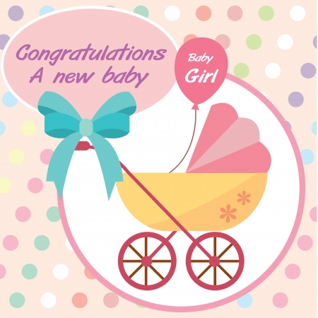 card new born baby girl Vector