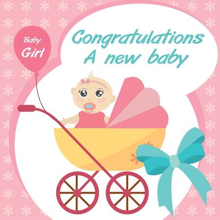 new born baby girl: card new born baby girl