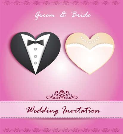wedding backdrop: carta di nozze a forma di cuore con smoking e abito Vettoriali