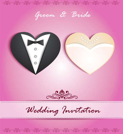 wedding:  wedding card in the form of heart with tuxedo and dress Illustration