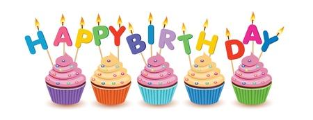 velas de cumpleaños: Magdalenas del cumpleaños aislado tarjeta de cumpleaños Feliz cumpleaños