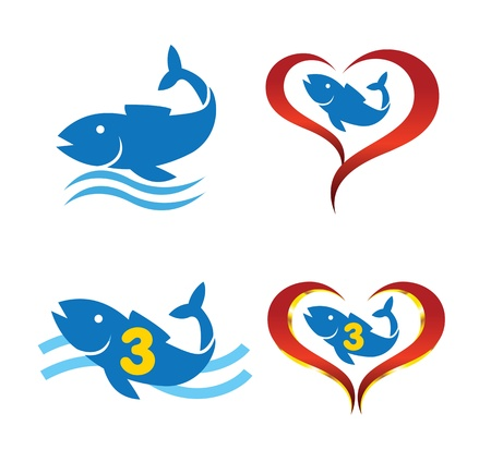 omega 3 fish on heart  Vector