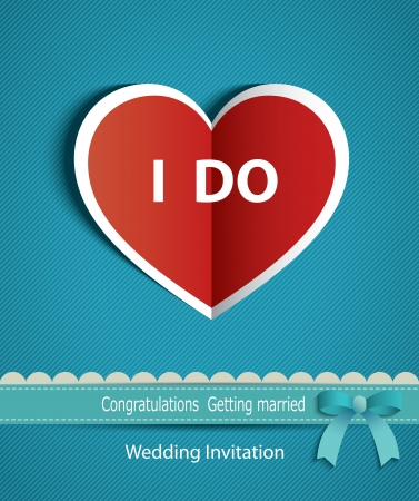 marriage invitation: wedding card in the form of heart paper with ribbon   Illustration