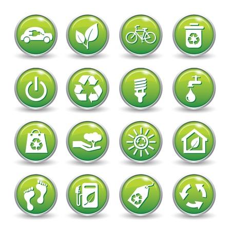 ahorro energia: Ecolog�a web iconos de botones de color verde Ecolog�a conjunto de iconos
