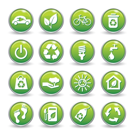 Ecology web icons green buttons Ecology icon set  Stock Vector - 20559878