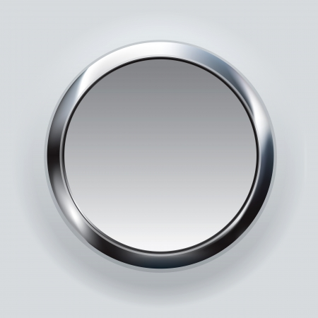 shiny button: silver button background  Stock Photo