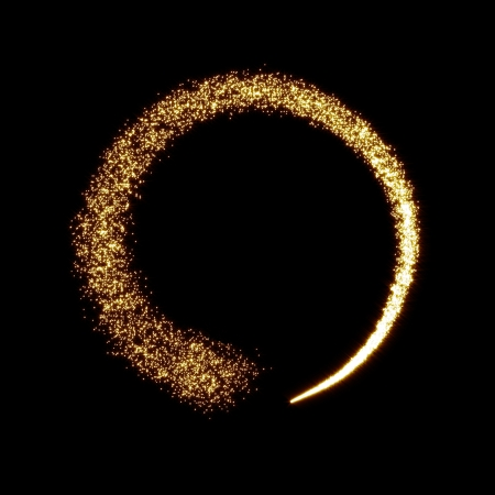 shimmering: Gold glittering star dust circle