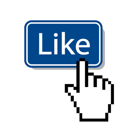 social networking: like mouse cursor pressing like button Illustration