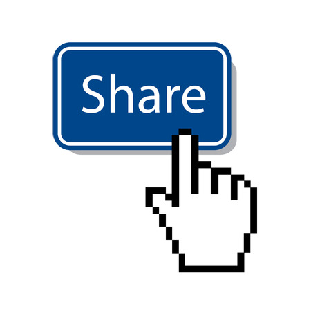 mouse cursor: share button with hand mouse Cursor  Illustration