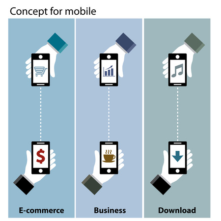 mobile concept  e-commerce , business , download Vector