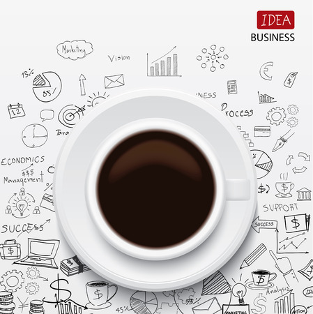 coffee cup and business strategy Business plan Idea Sketch  Vector