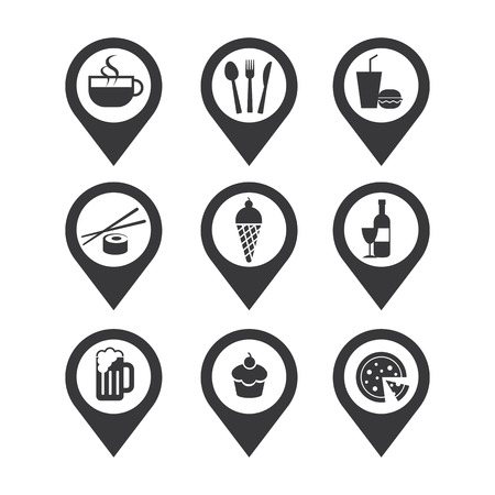canteen: mapping pins icon food and drink