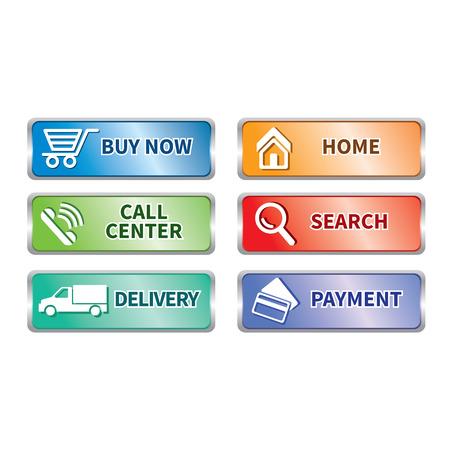 e commerce: Button e commerce set Stock Illustratie