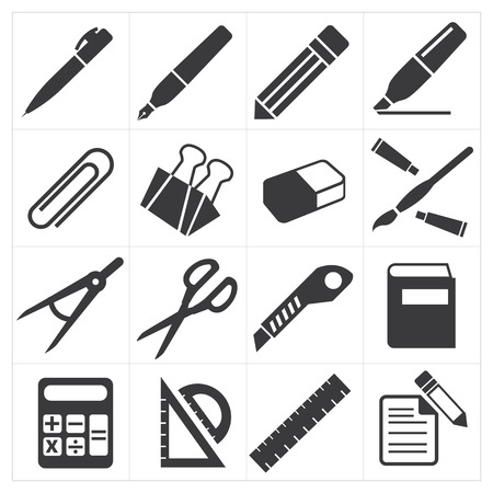 stationary set: icon stationary education