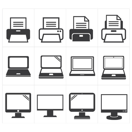 fax: icon office equipment  Fax ,laptop,printer