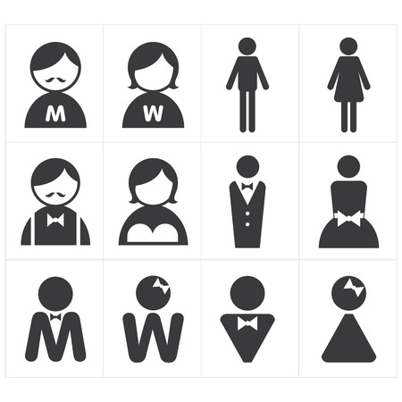 wc sign: icon toilet man and woman Illustration