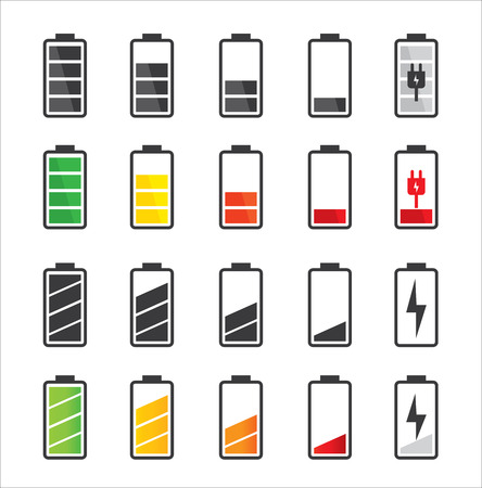 battery: Battery icon set  Set of battery charge level indicators
