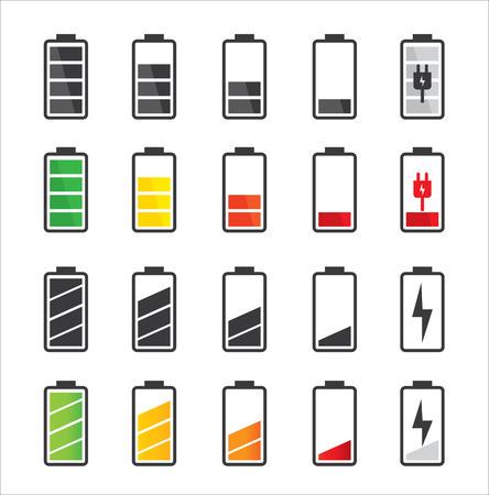 bateria: Icono de la batería conjunto Conjunto de indicadores de nivel de carga de la batería Vectores