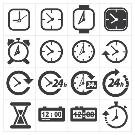 24 hours: Time and clock icon set