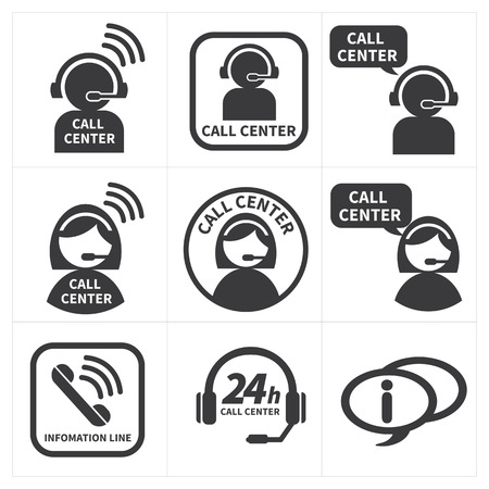 telephone headsets: icon set call center.
