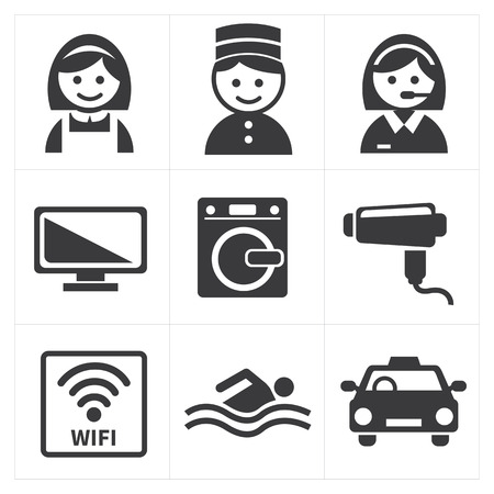 receptionists: Hotel Services Icon set