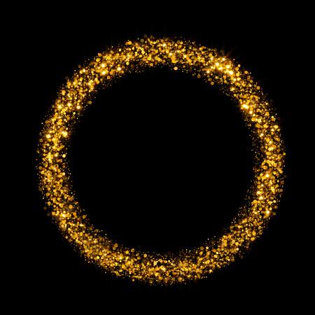 gold dust: gold round glitter background Stock Photo