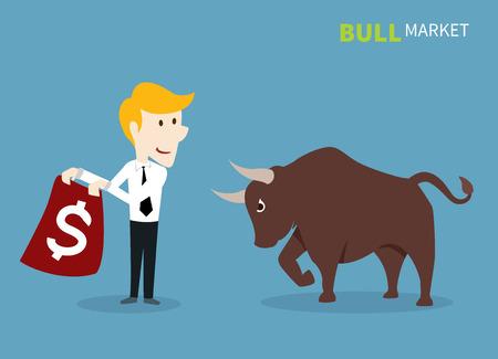bull treading on the stock market. 向量圖像