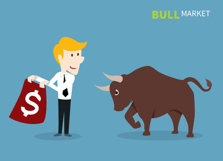 market trends: bull treading on the stock market. Illustration
