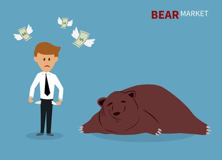 bearish business: bear treading on the stock market. Illustration