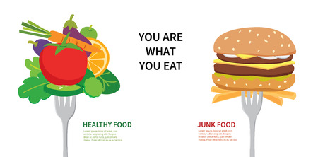 식품 개념 당신은 당신이 먹는 무슨이다. 건강에 좋은 음식과 정크 푸드 중에서 선택