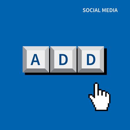 cursor hand click add button.social media concept Vector