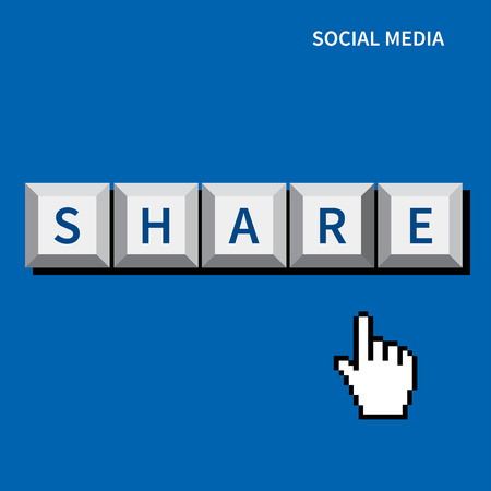 cursor hand click share button.social media concept Vector