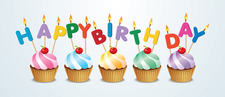 happy birthday cupcake Vettoriali