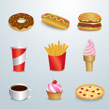 unhealthy food: set of fast food