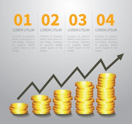 financial graph: golden coin graph money