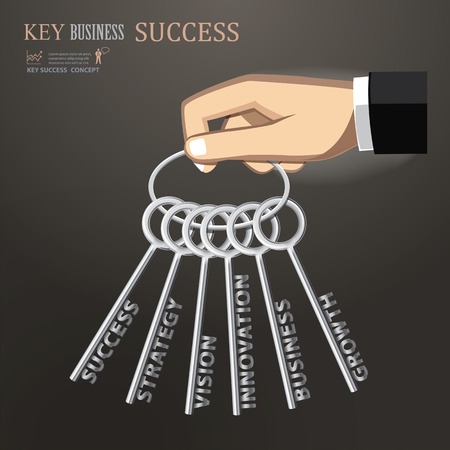 vector hand holding bunch of keys for success business Vector