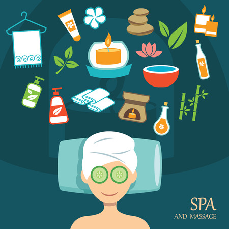 oil massage: vector spa flat design