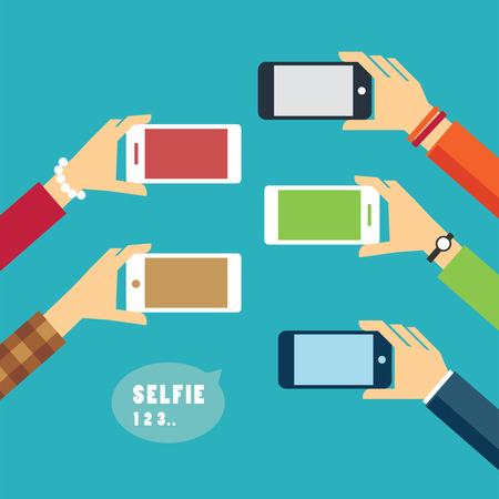 photo pictures: taking a selfie photo flat design Illustration
