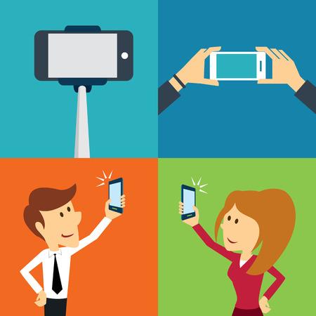 smartphone hand: taking a selfie photo flat design Illustration