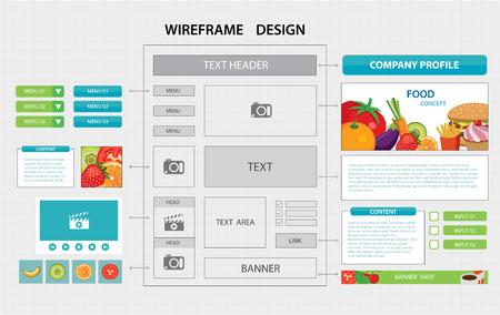 flat website wireframe template Illustration