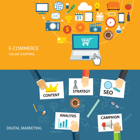 marketing online: digital marketing and e-commerce flat design