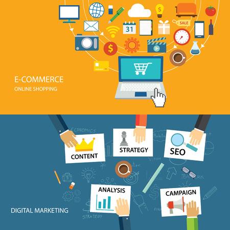 redes de mercadeo: marketing digital y diseño plano del comercio electrónico