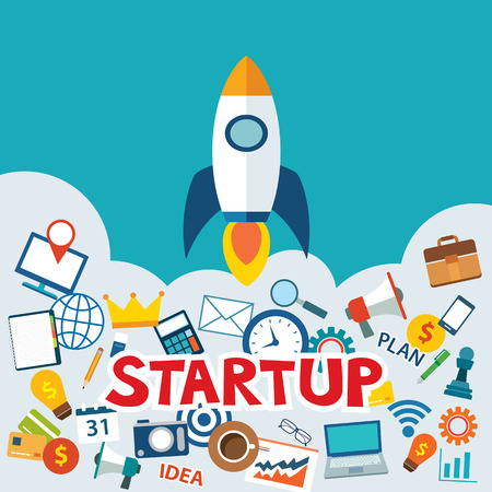 office product: startup new business project with rocket image flat design