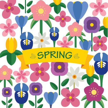 azalea: spring flower  background flat design Illustration